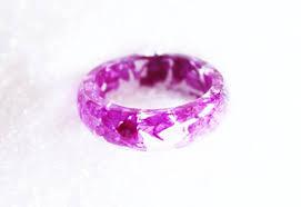 real pink flower ring resin ring pink