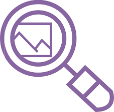 Logo - Purple magnifying glass over a picture of mountains.