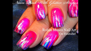 Pink Nail Art Design Easy Hot Neon Pink Nails Glitter Striped Nail Art Design