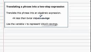 worksheet translate algebraic expressions aleks translating a phrase into two step expression you expression