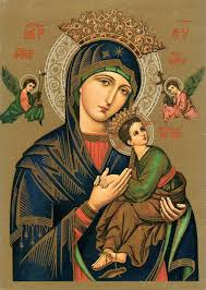 our lady of perpetual help the original wooden icon suspended in the altar measures 17 21 inches and is painted on hard nut wood with a gold leaf
