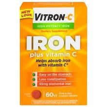 Vitron-C <b>Iron</b> Supplement Plus <b>Vitamin C</b>, Coated Tablets | Walgreens