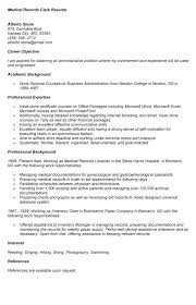 Health Records Clerk Sample Resume Administrativeume Sample For