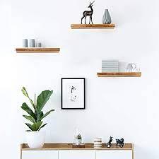 rustic wood hanging wall shelf for