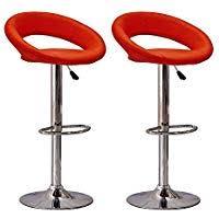 red leather bar stools. Tason Set Of 2 Modern Oval Open Back Bar Stools Faux Leather Backrest, Adjustable Swivel Red