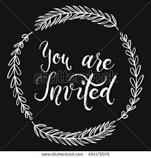 stock vector you are invited to the party invitation card vector isolated hand drawn hand lettering with 454170076 vector illustration hand drawn floral wreath stock vector on twitter banner orignal template