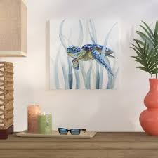 turtle in seagrass ii oil painting print on wrapped canvas on turtle wall art painting with coastal wall art you ll love wayfair