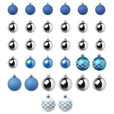 ВИНТЕРФЕСТ | <b>Набор елочных шаров</b>, <b>32</b> шт., синий/белый ...