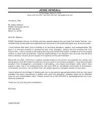 Elementary School Teacher Cover Letter For Teacher Special Education