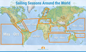 Atlantic Wind Charts The Sailing Seasons Around The World With Map