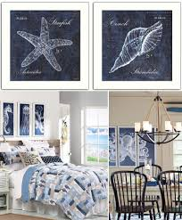 blue white coastal sea life wall art