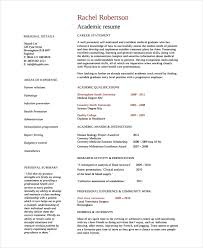 Academic Resume Examples - Template