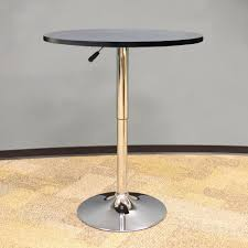 amerihome vintage style 24 in round adjule height bar table in black