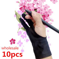 10pcs anti fouling artist glove for drawing black 2 finger painting digital tablet writing