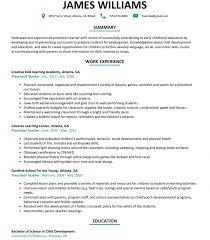 Preschool Teacher Resume Resumes Excellent Job Recruitment Letter
