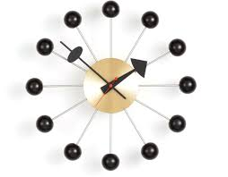 george nelson ball clock in black  brass  hivemoderncom