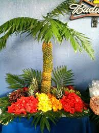 Edible Fruit Arrangement  Pineaple Palm Tree Centerpiece Fresh Fruit Tree Display