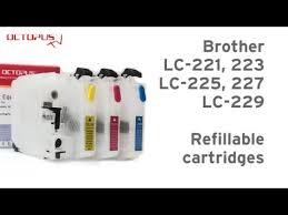 Refillable cartridge for Brother <b>LC-221 LC-223</b> LC-225 LC-227 LC ...