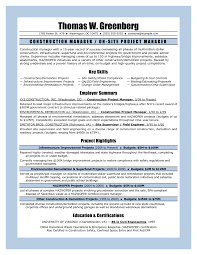 11 Sample Resume For Project Manager Construction Riez Sample