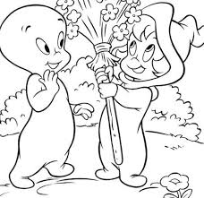 Kitten And Casper Ghost Coloring Pages For Kids Free Cartoons