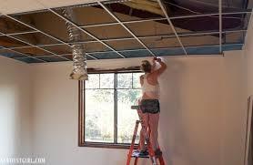 hiding drop ceiling grid