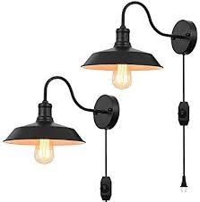 black gooseneck plug in wall light