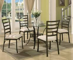 glass dining room table with wrought iron legs round gl top metal base modern 5 piece dining set