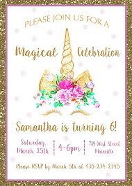 8th Birthday Party Invitations Unicorn Birthday Party Invitation Magical Gold Floral Birthday