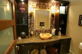 bathroom mirror frame tile. Interesting Tile Glass Tile Bathroom Mirror Frame Cherry Vanity With Marble  Countertop Vessel Sink Cabinet Two Bronze Sconces Sing Chrome Faucet Throughout