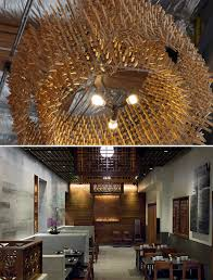 top each chandelier is made of wire fencing and 1 500 wood clothespins at mendocino farms