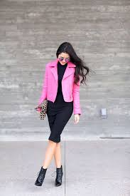 bright scarf and boots pink leather jacket