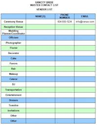 Vendor List Template Amazing Download Free Templates From Vancity Bride Vancity Bride
