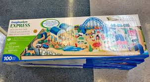 right now at toys r us you can get a fantastic deal on the imaginarium all in one wooden train table regularly 79 98 this 100 piece set is on for