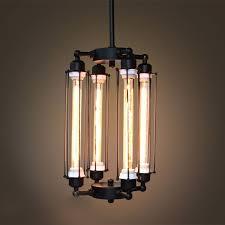 4 light caged edison bulb chandelier