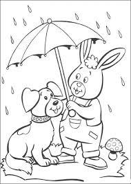Een Konijn En Een Hond Onder De Paraplu In De Regen Kleurplaat