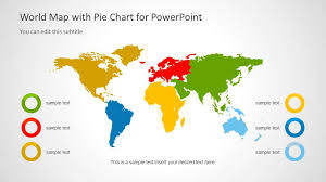 Map Chart World Map Template With Pie Charts For Powerpoint