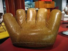 baseball glove chair and ball ottoman rawlings leather