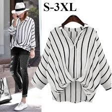 <b>Plus</b> Size Korean <b>Style</b> Stripe Shirt Women's Blouse M-<b>3XL</b> ...