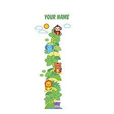 Personalized Safari Animal Growth Chart Wall Decal For Nursery Kids Room