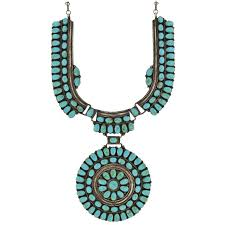 j w vintage navajo turquoise sun wheel sterling necklace for