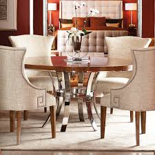 soho luxe wood metal round dining table in dark caramel