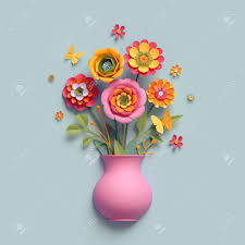 Paper Flower Bouquet In Vase 3d Render Craft Paper Flowers Pink Vase Floral Bouquet Autumn