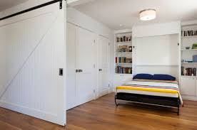 Efficient Small Space Bed For Space Savings : Cool Sliding Door And Murphy  Bed Create A