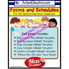 No Frills Editable Forms With Lesson Plans And Schedule Templates For Special Education And Autism