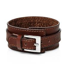jiayiqi genuine leather bracelet men vintage wide cuff bangles adjustable buckle wristband