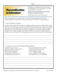 personification in literature figurative language worksheets teacher