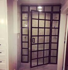 steel framed shower doors black