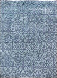 damask pattern blue purple handknotted rug