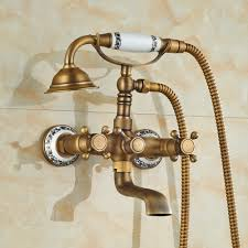 cullasaja antique brass finish telephone hand shower with bathtub faucet mixer 1