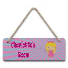 personalised children s hardboard hanging bedroom door sign plaque princess design 12 99